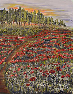 Painting - Sunrise In Poppies Field by Felicia Tica