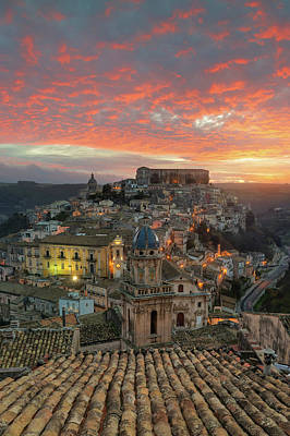 Photograph - Sunrise In Ragusa Ibla by Mirko Chessari