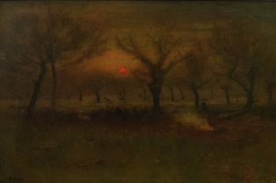 Sunrise In The Apple Orchard Art Print by George Inness