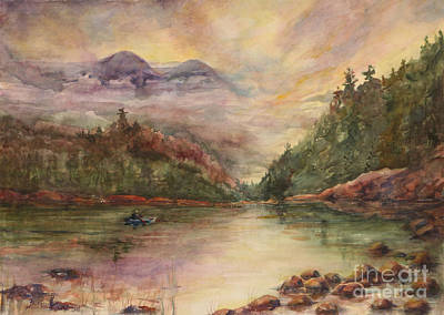 In Earth Tones Painting - Sunrise In The Mountains by B Rossitto