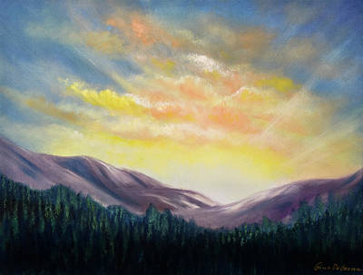 Painting - Sunrise In The Mountains by Gina De Gorna
