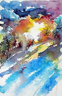 Winter Landscape Painting - Sunrise by Kovacs Anna Brigitta