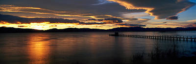 Golden Orb Photograph - Sunrise Lake Tahoe Ca by Panoramic Images