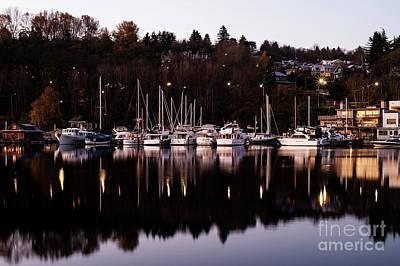 Photograph - Sunrise Lake Union Boats/houseboat by Jim Corwin