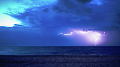 Photograph - Sunrise Lightning Delray Beach Florida by Lawrence S Richardson Jr