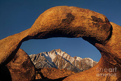 Photograph - Sunrise Mobius Arch Alabama Hills Eastern Sierras California by Dave Welling