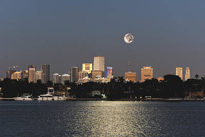Photograph - Sunrise Moon Over Miami by Gary Dean Mercer Clark