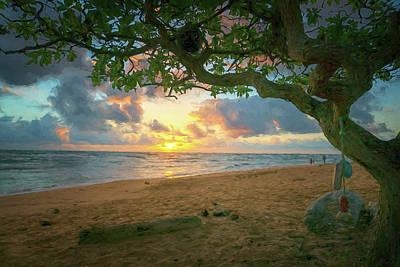 Photograph - Sunrise Nukolii Beach Kauai Hawaii Photo Painting 7r2_dsc4497_01112018 by Greg Kluempers