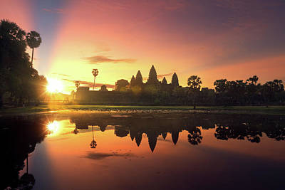 Photograph - sunrise of Angkor wat temple by Anek Suwannaphoom