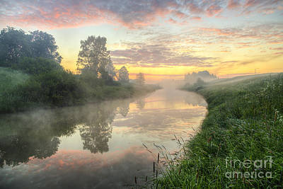 Colorful Contemporary Photograph - Sunrise On A Misty River by Veikko Suikkanen