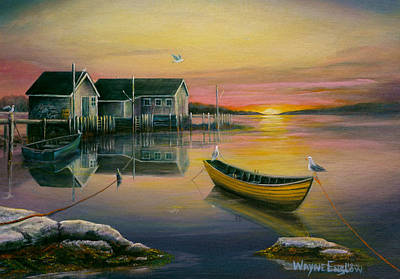Sunrise On Blue Rocks 2 Art Print by Wayne Enslow
