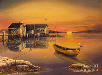 Sunrise On Blue Rocks Art Print by Wayne Enslow