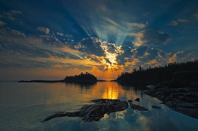 Without People Photograph - Sunrise On Georgian Bay, Fathom Five by Mike Grandmailson