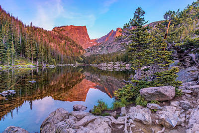 Photograph - Sunrise On Hallet Peak - Dream Lake - Rocky Mountain National Park by Gregory Ballos
