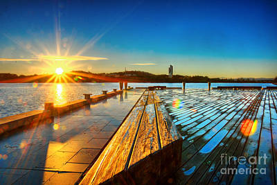Photograph - Sunrise On Lake Burley Griffin by Stuart Row
