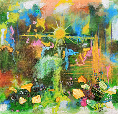 Frogs Mixed Media - Sunrise On Lily Pond by Donna Blackhall