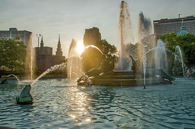 Photograph - Sunrise On Logan Circle - Swann Fountain by Bill Cannon
