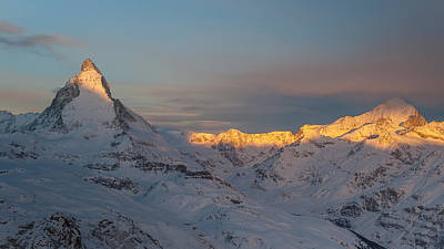 Photograph - Sunrise On Matterhorn Cervino With Dent Blanche by Brenda Jacobs