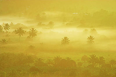 Sunrise On Mist In Roseau Valley- St Lucia Art Print by Chester Williams