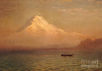 Snow Capped Painting - Sunrise On Mount Tacoma  by Albert Bierstadt