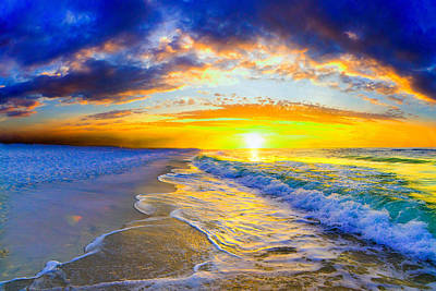 Art Print featuring the photograph Sunrise On Ocean Waves Beautiful Orange Sunrise by Eszra Tanner