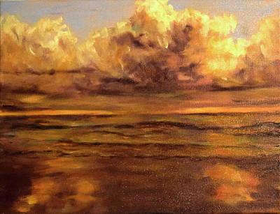 Painting - Sunrise On Stormy Beach by Sandra Nardone
