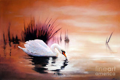 Print featuring the painting Sunrise On Swan Lake by Michael Rock