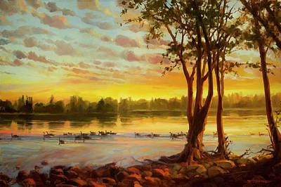 Geese Painting - Sunrise On The Columbia by Steve Henderson