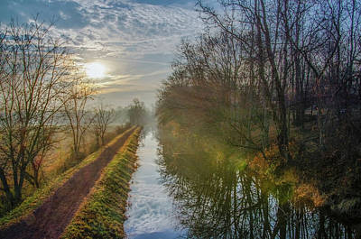 Sunrise On The Delaware Canal - Bucks County Pa Print by Bill Cannon