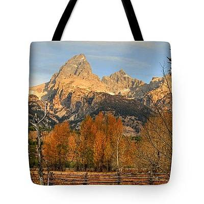 Photograph - Sunrise On The Grand Tetons - Tote by Donna Kennedy