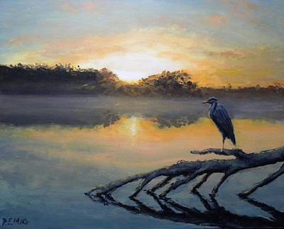 Painting - Sunrise On The Lake-original For Sale Too by Paul Emig
