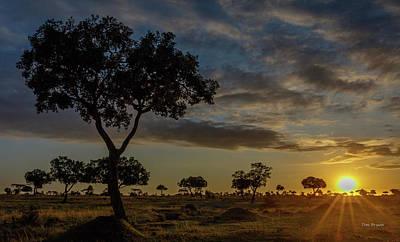 Photograph - Sunrise On The Masai-mara, Kenya by Tim Bryan