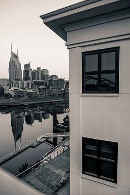Photograph - Sunrise On The Nashville Tennessee Skyline - Black And White by Gregory Ballos