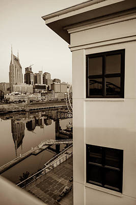 Photograph - Sunrise On The Nashville Tennessee Skyline - Sepia by Gregory Ballos