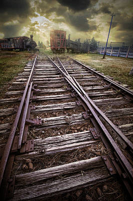 Photograph - Sunrise On The Railroad Tracks At 1880 Town South Dakota by Randall Nyhof