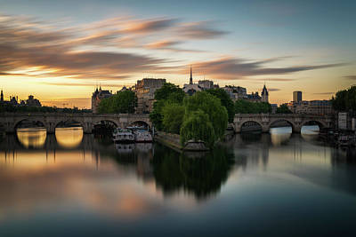 Paris Skyline Royalty-Free and Rights-Managed Images - Sunrise on the Seine by James Udall