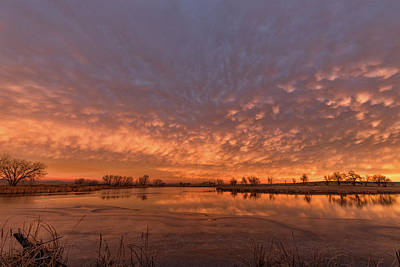 Photograph - Sunrise Over A Frozen Pond by Tony Hake