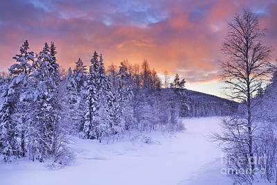 Sunrise Over A River In Winter Near Levi, Finnish Lapland Art Print