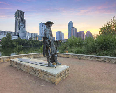Stevie Ray Vaughan Photograph - Sunrise Over Austin And The Srv Statue 1 by Rob Greebon