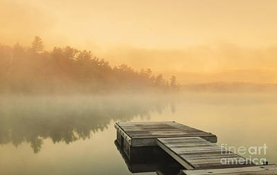 Photograph - Sunrise Over Calm Lake by Charline Xia