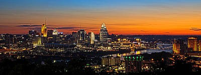 Glowing Photograph - Sunrise Over Cincinnati by Keith Allen