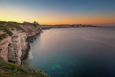 Vintage College Subway Signs Color - Sunrise over cliffs and Mediterranean at Bonifacio in Corsica by Jon Ingall
