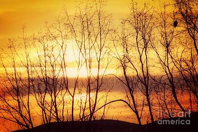 Watercolor Typographic Countries - Sunrise Over Columbia River by Sharon Johnston