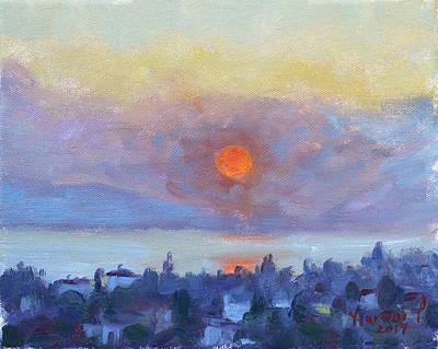 Sunrise Painting - Sunrise Over Dilesi Athens by Ylli Haruni