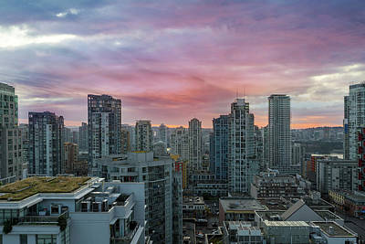 Photograph - Sunrise Over Downtown Vancouver Bc by David Gn