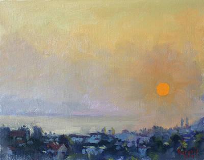 Island Painting - Sunrise Over Evia Island Greece by Ylli Haruni