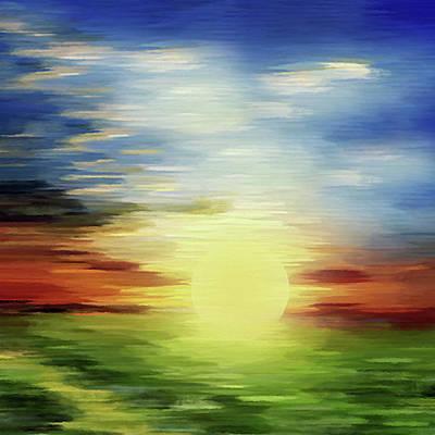Sunrise Over Green Lands Abstract Art Print by Georgiana Romanovna