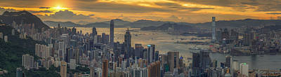 Sunrise Over Hong Kong And Kowloon City Art Print
