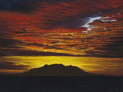 Painting - Sunrise Over Little Barrier Island by Peter Jean Caley