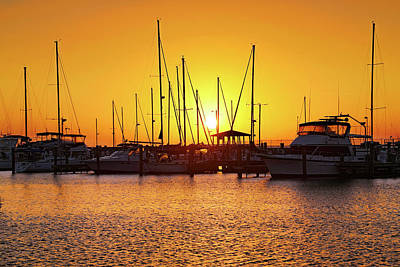 Photograph - Sunrise Over Long Beach Harbor - Mississippi - Boats by Jason Politte
